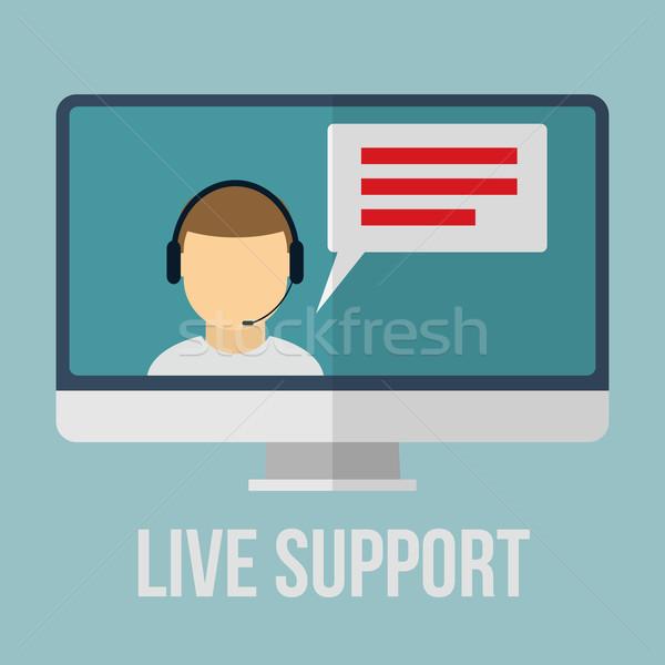 Stock fotó: Technikai · támogatás · emberi · ikon · monitor · terv · nő