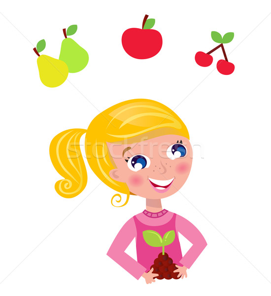 Cute little gardener child with plant and fruit isolated on whit Stock photo © lordalea