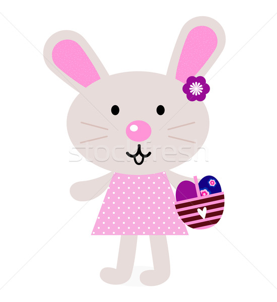 Pink easter bunny with eggs isolated on white Stock photo © lordalea