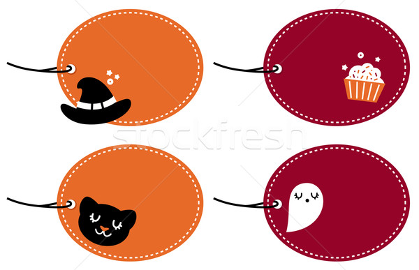 Cute halloween blank banner set isolated on white Stock photo © lordalea