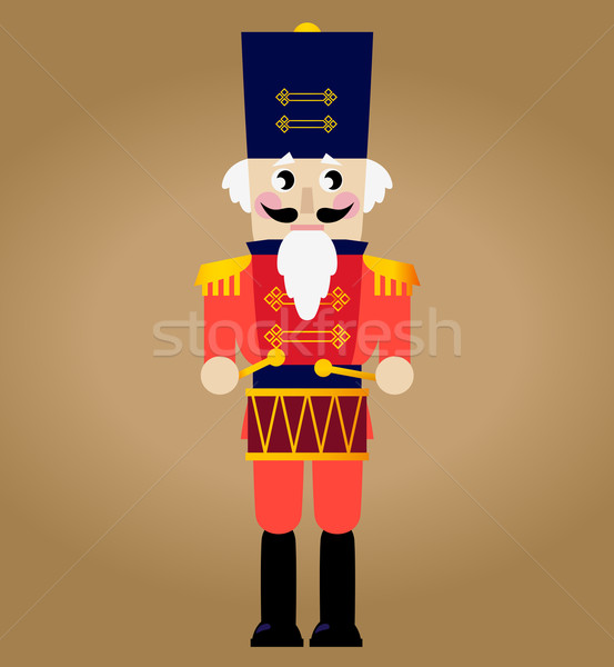 Cute red retro Nutcracker isolated on brown Stock photo © lordalea