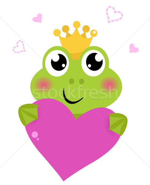 Cute frog holding Pink Heart isolated on white Stock photo © lordalea