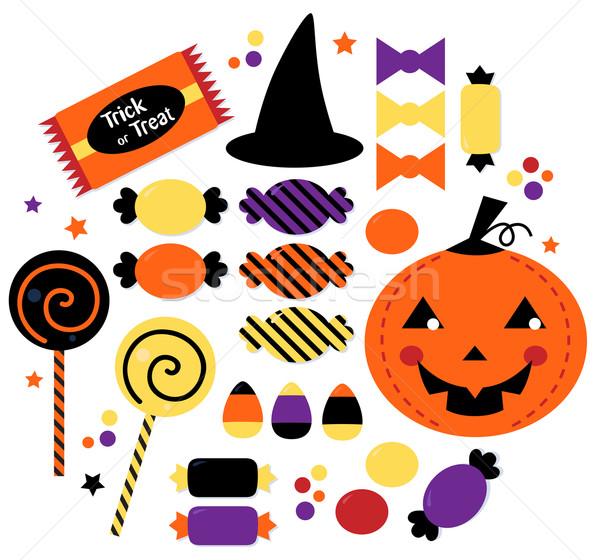 Halloween cute słodkie candy kolekcja odizolowany Zdjęcia stock © lordalea