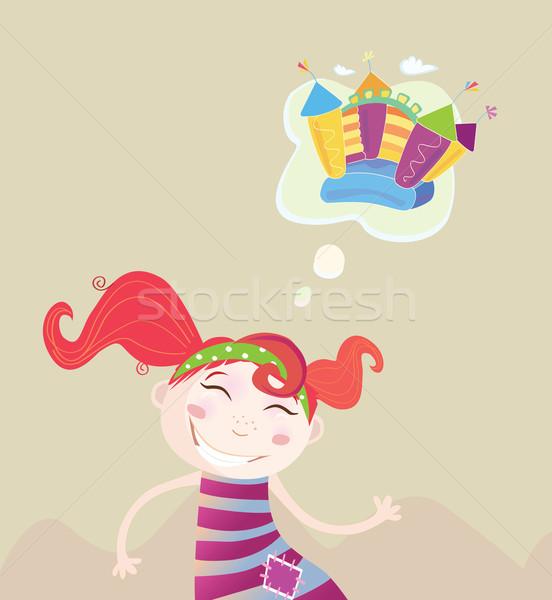 Kicsi lány álmodik új játék álom Stock fotó © lordalea