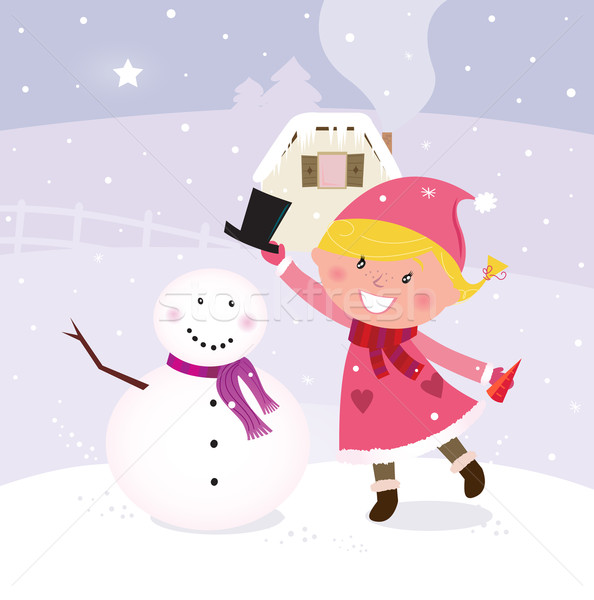 Cute winter girl in christmas pink costume making snowman  Stock photo © lordalea