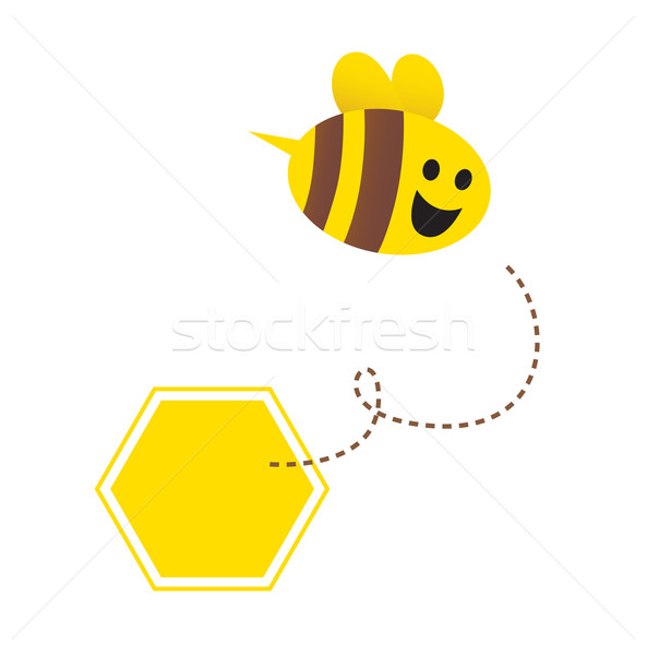 Little flying honey bee ( with yellow and brown stripes )  Stock photo © lordalea
