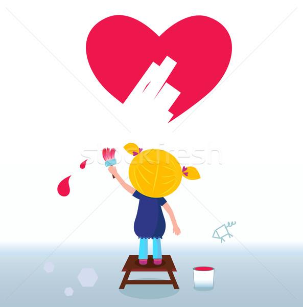 Küçük Sanatçı Sevimli Kız Boyama Kırmızı Vektör