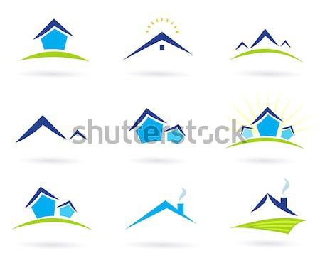 Real Estate Logo And Icons Vector - Purple, Green<br> Stock photo © lordalea