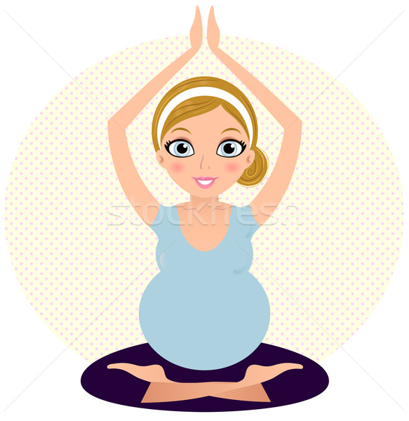 Stock fotó: Gyönyörű · terhes · anya · pontozott · kör · terhes · nő