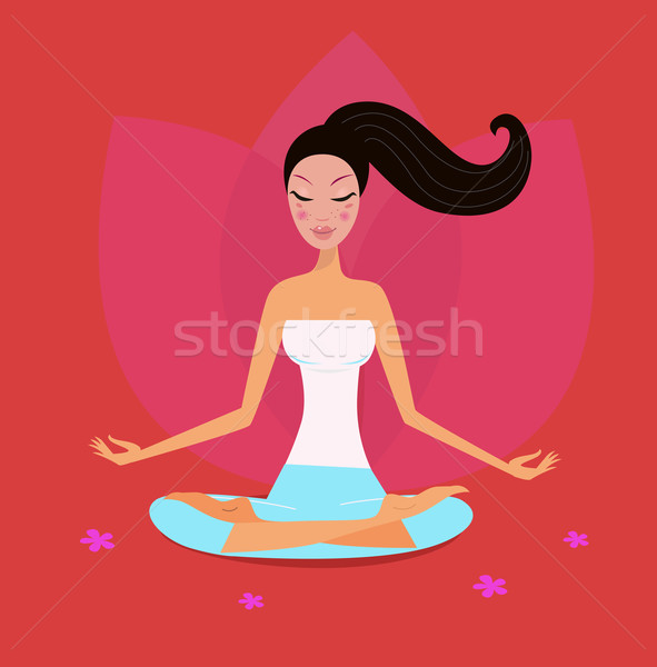 Yoga Girl In Lotus Position Isolated On Red Background Stock photo © lordalea