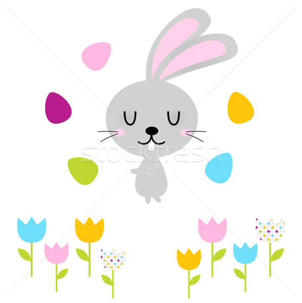 Cute easter bunny with eggs isolated on white Stock photo © lordalea