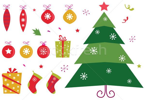 Сток-фото: ретро · Рождества · иконки · Элементы · набор · красный