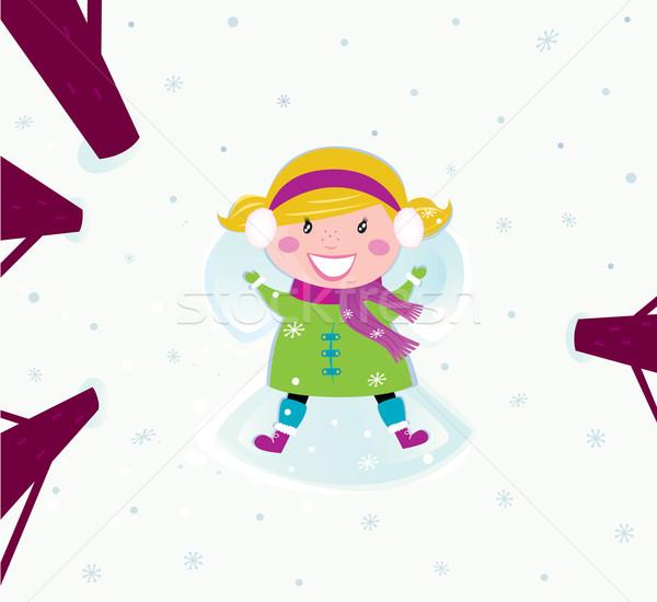 Noël fille heureuse neige ange heureux Photo stock © lordalea