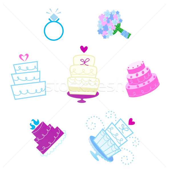 Wedding and Valentine's day desserts and accesories icons  Stock photo © lordalea
