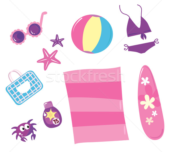 Stock photo: Summer, travel and beach icon set ( pink ) - isolated on white