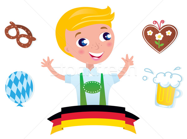 Cute bavarian Octoberfest male & icons isolated on white backgro Stock photo © lordalea