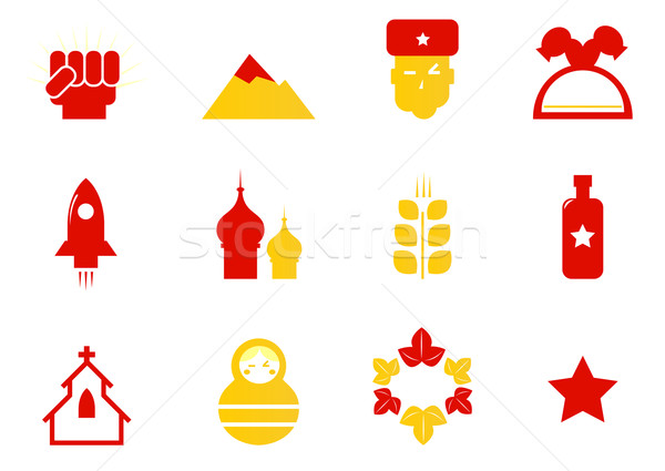 Russia icons & communist stereotypes isolated on white ( red & y Stock photo © lordalea