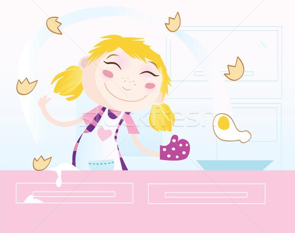 Foto stock: Nina · cocina · la · preparación · de · alimentos · mujer · cocina · casa