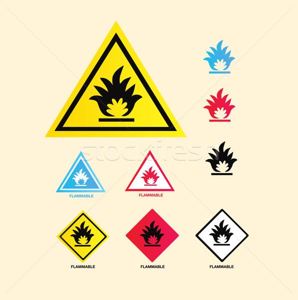 Gyúlékony figyelmeztető jel vektor gyűjtemény figyelmeztetés feliratok Stock fotó © lordalea
