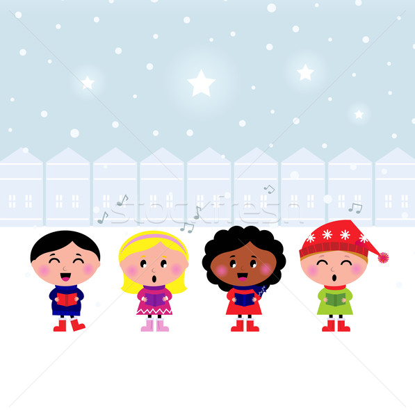 Cute Christmas Carroling Children singing in Town