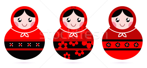 Russian doll set isolated on white ( black & red ) Stock photo © lordalea