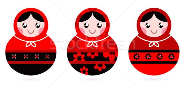 русский кукла набор изолированный белый черный Сток-фото © lordalea
