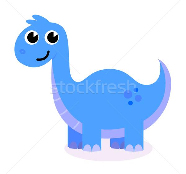 Sevimli mavi dinozor yalıtılmış beyaz mutlu Stok fotoğraf © lordalea