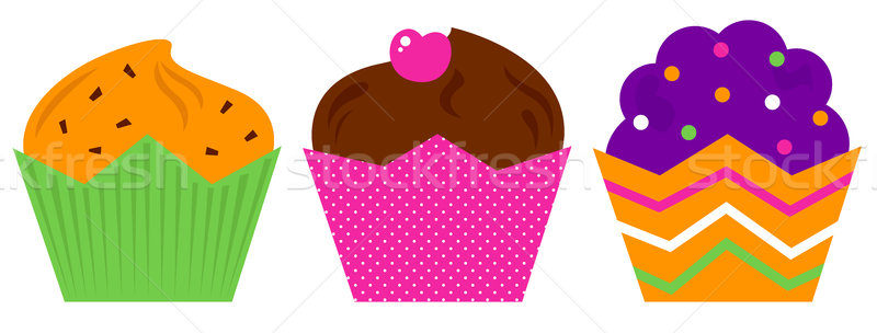 Birthday Muffin set isolated on white Stock photo © lordalea