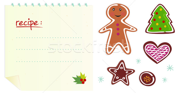 Cookies or christmas icons with recipe isolated on white Stock photo © lordalea