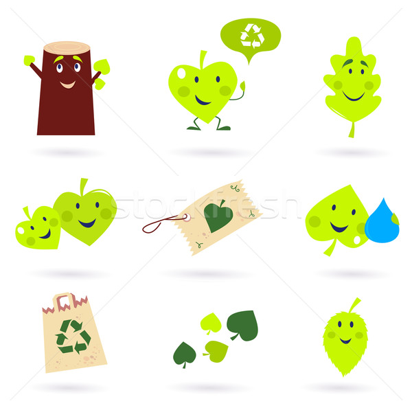 Leaf characters and nature icons isolated on white background ( green ) Stock photo © lordalea