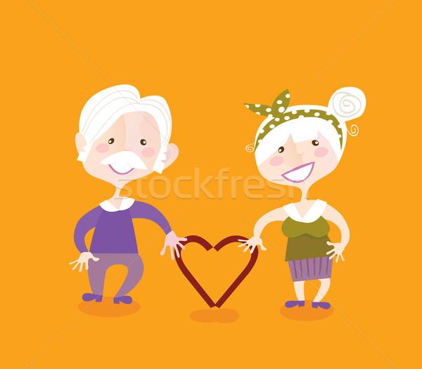 祖父母 愛 祖母 祖父 ヴィンテージ 女性 ストックフォト © lordalea