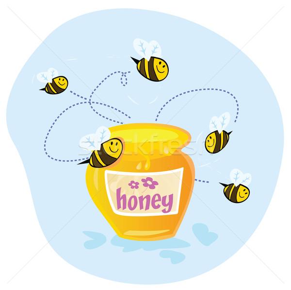 甘い はちみつ ミツバチ 飛行 周りに ベクトル ストックフォト © lordalea