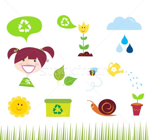 Rolnictwa ogród charakter ikona zielone Zdjęcia stock © lordalea
