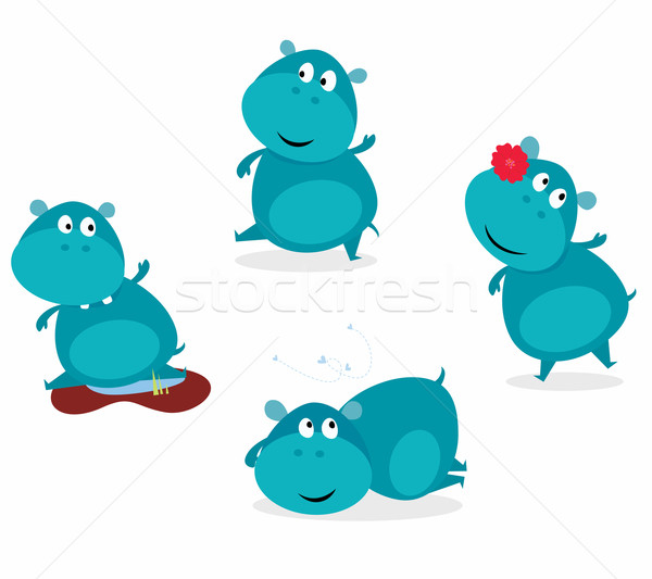 Cute Happy Blue Hippopotamus In Four Poses  Stock photo © lordalea
