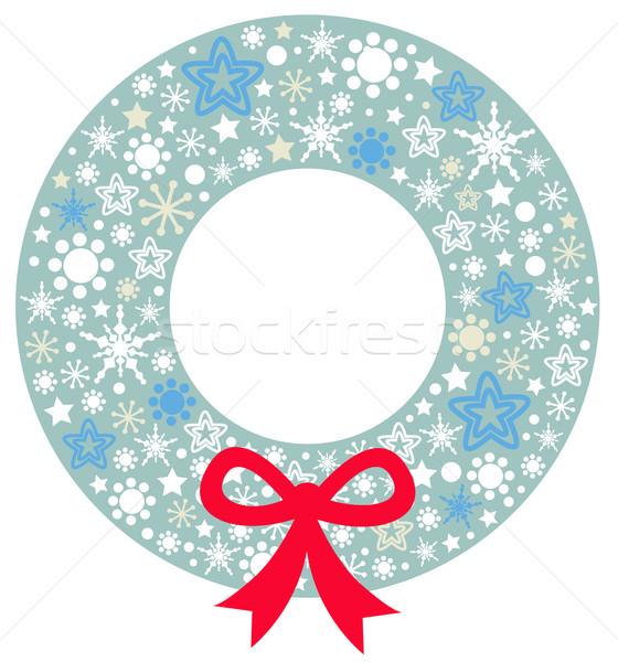 Рождества венок лента изолированный белый красивой Сток-фото © lordalea