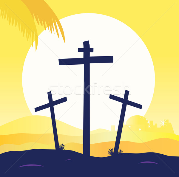 Jesus Crucifixion - Calvary Scene With Three Crosses  Stock photo © lordalea