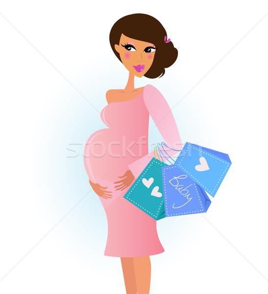 ストックフォト: ファッショナブル · 妊婦 · ピンク · ショッピングバッグ · スタイリッシュ · 店