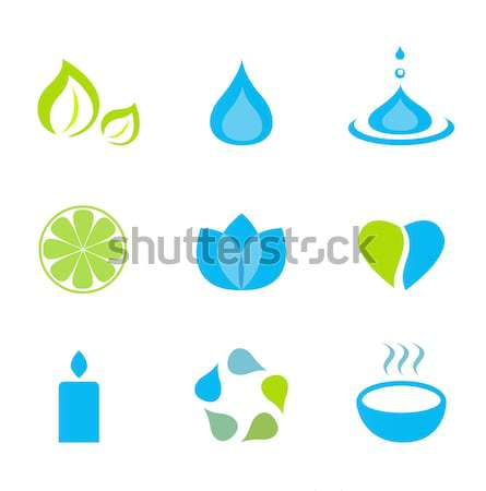Wellness zen natural and spa icons and elements - green & blue