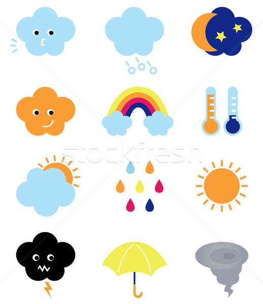 Weather cast cute elements set isolated on white Stock photo © lordalea