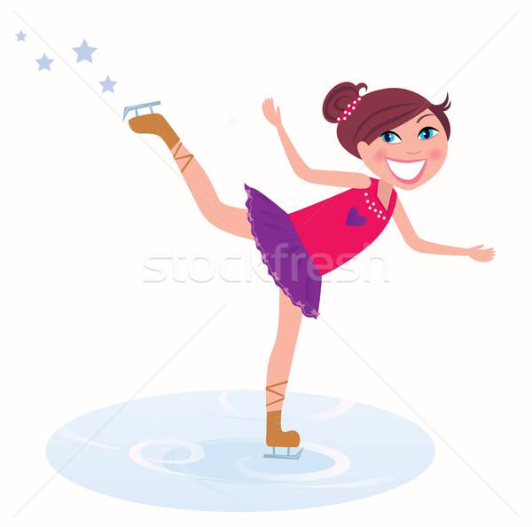 Invierno vacaciones joven formación patinaje artístico hielo Foto stock © lordalea