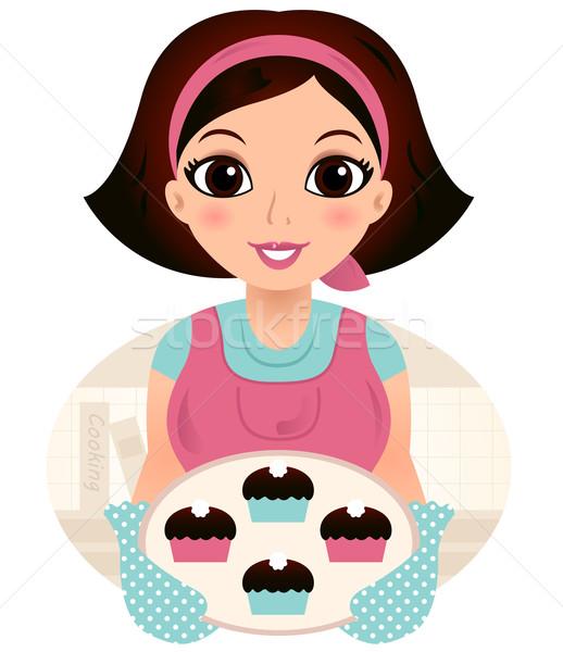 Fiatal sütés nő tart sütik főzés Stock fotó © lordalea