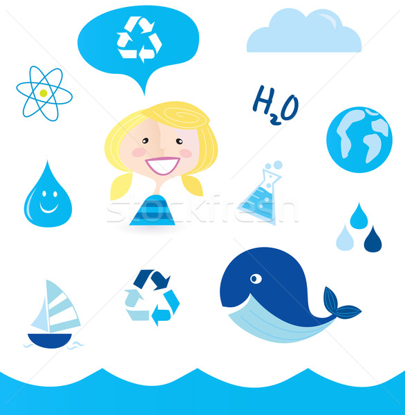 Recycle Water: School Nautical , Ocean, Water And Nature icons  Stock photo © lordalea