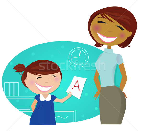 Back To School: Small Cute Child Come To Home With Good Grade Stock photo © lordalea