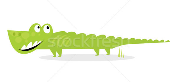 Cartoon Happy Green Crocodile Isolated On White Background Stock photo © lordalea