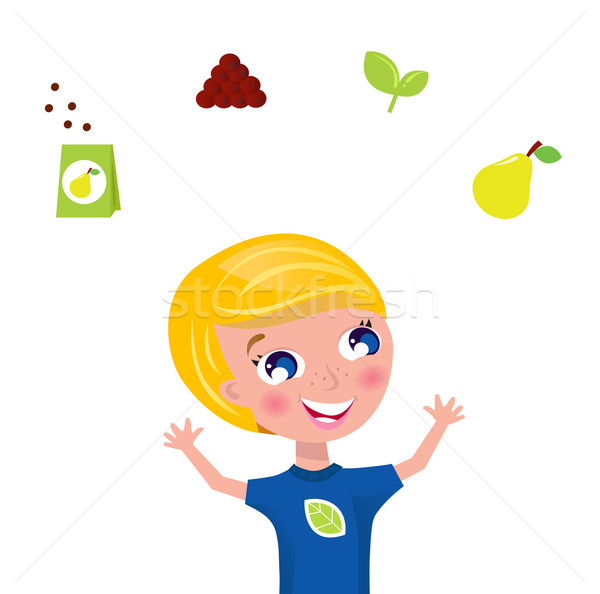 Cute gardener jugglery - green plant and fruit icons & elements Stock photo © lordalea
