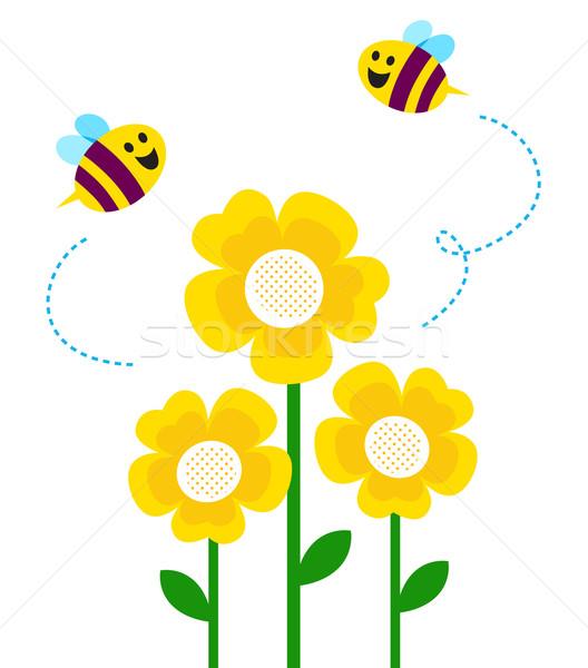 Cute weinig bijen vliegen rond bloemen Stockfoto © lordalea