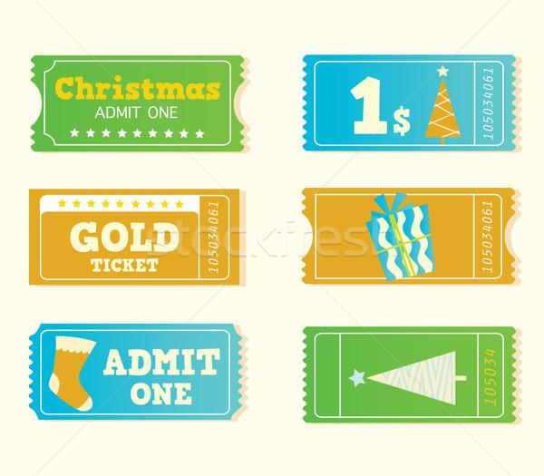 Blauw Geel retro bioscoop christmas tickets Stockfoto © lordalea