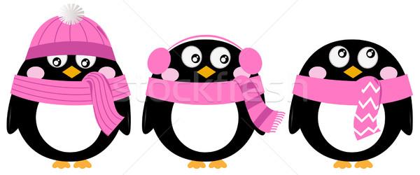 Cute pink cartoon penguin set isolated on white Stock photo © lordalea