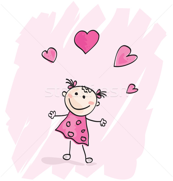 Small Girl With Hearts Stock photo © lordalea