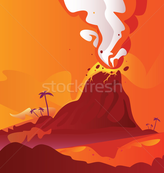 Volcano With Burning Lava  Stock photo © lordalea